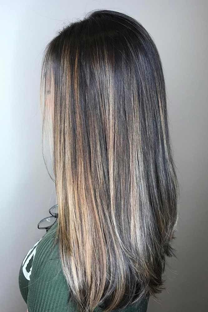 Ash And Beige Highlights On Dark Hair ❤️ Upgrade your plain brown hair color...