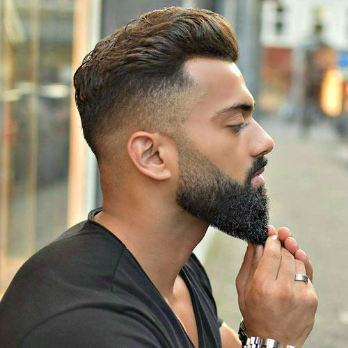 Dapper Haircuts - High Fade with Brush Back and Beard...