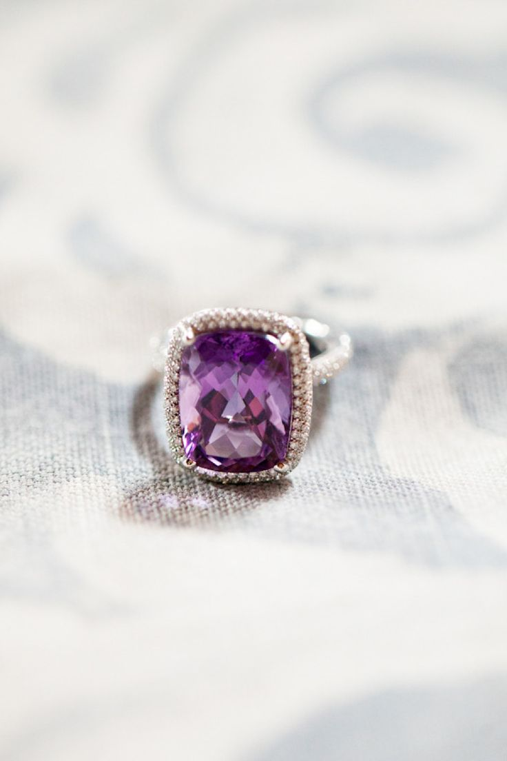 Amethyst engagement ring: Photography: Aaron Delesie...