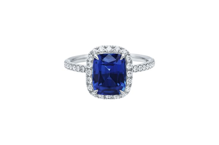 Blue diamond cushion-cut engagement ring...