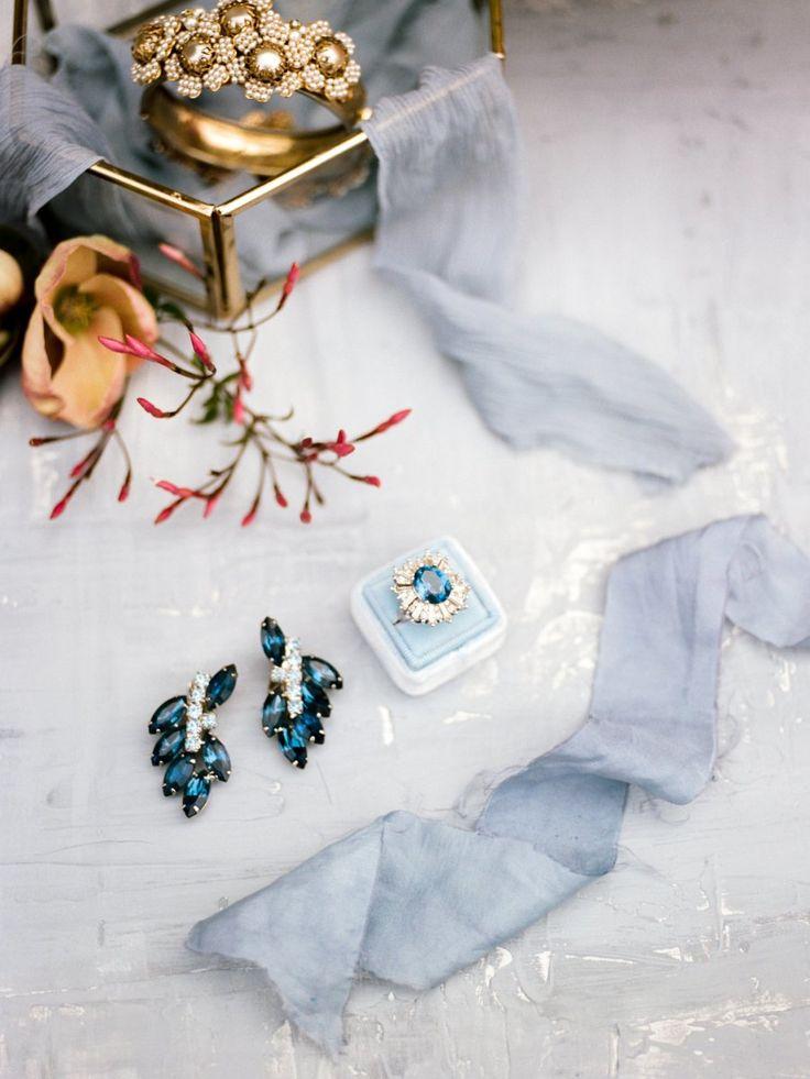 Blue diamond elegant engagement ring: Photography: Anna Delores - www.annadelore...
