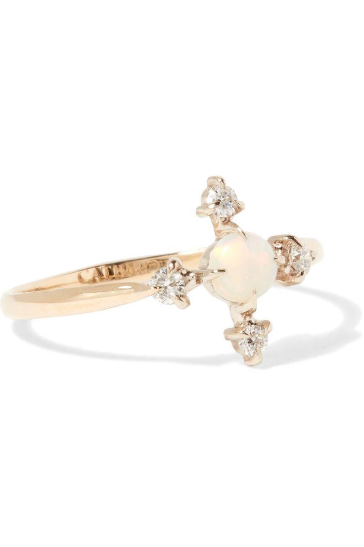 Catbird Moon Flower 14k Gold, Diamond and Opal Ring...