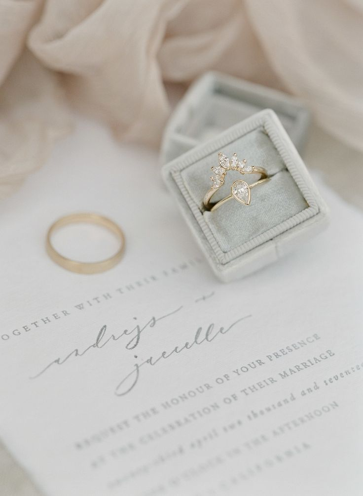 Elegant gold unique engagement ring | Photography: Greg Finck...