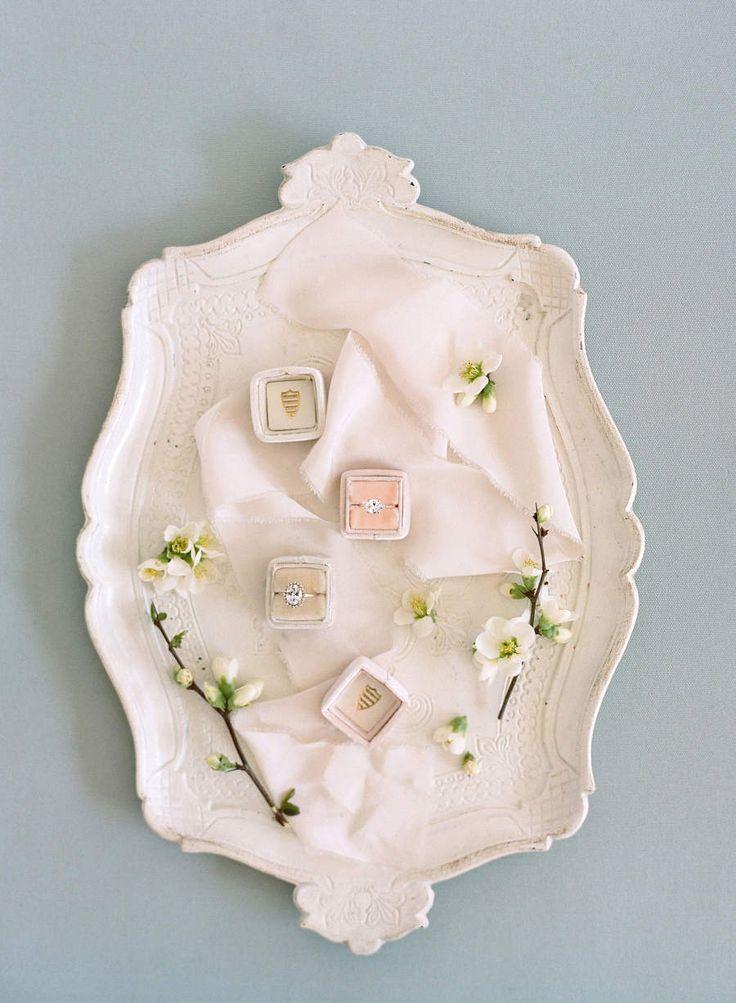 Engagement ring setup: Floral Design: Porter & Ives - www.stylemepretty... Photo...
