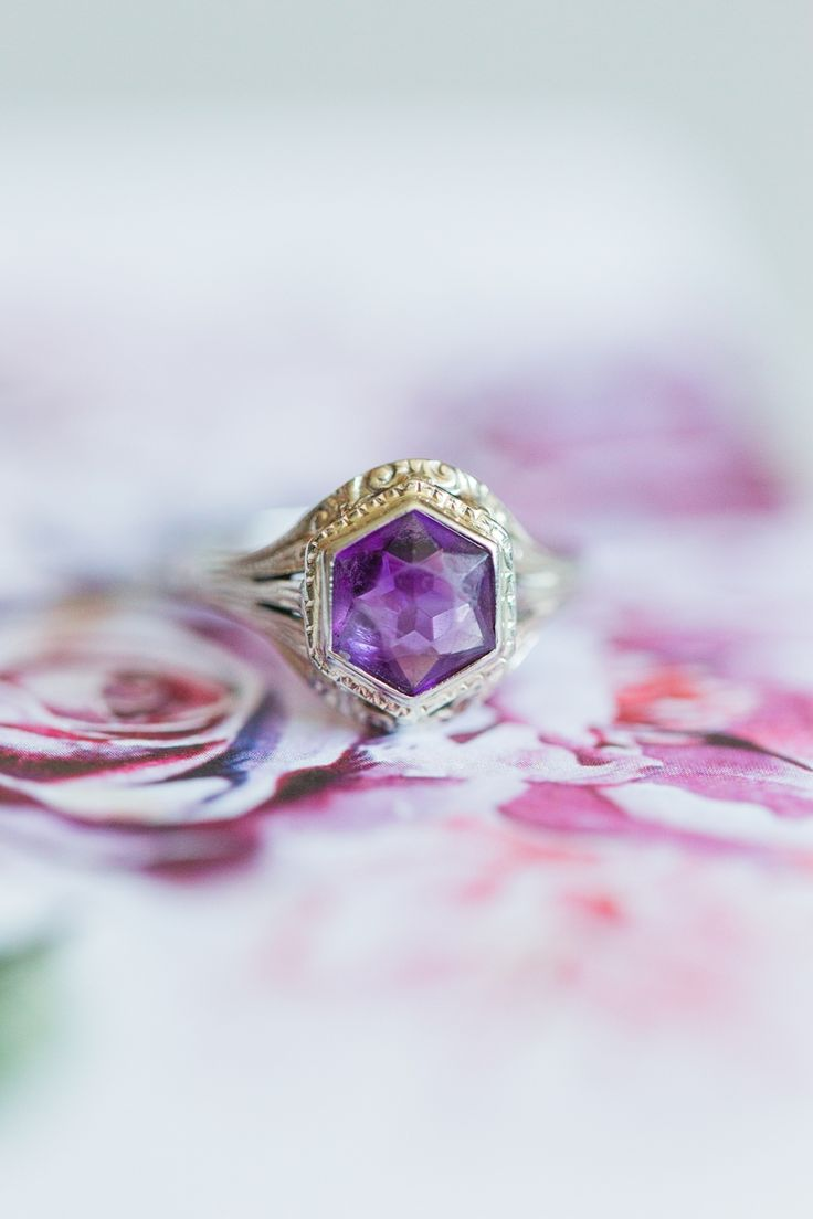 Gold set amethyst engagement ring | Photography: Cassi Claire...