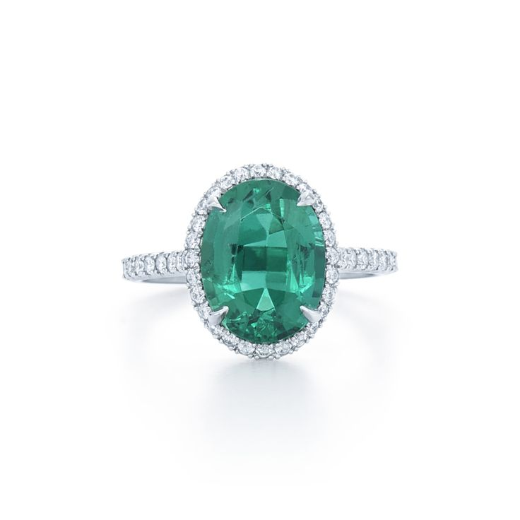 Oval-cut emerald engagement ring:...