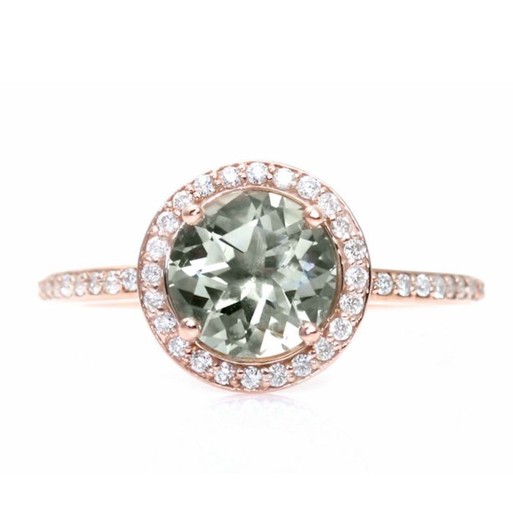 Rare Earth Rose Gold Green Amethyst Diamond Halo Engagement Ring...