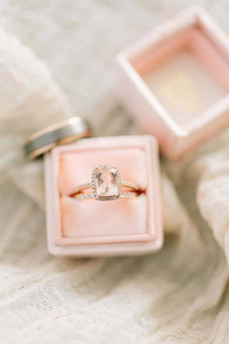 Rose gold engagement ring: Favors: Couldn't Smell Better Candles  - www.csbcandl...