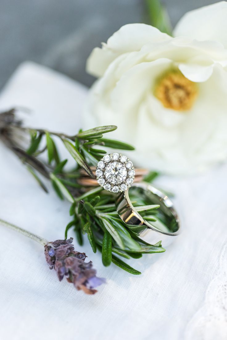 Round-cut diamond in a halo setting | Photography: Eliza Morrill...