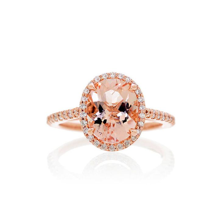 SAMnSUE 14k Rose Gold Morganite Diamond Halo Engagement Ring...