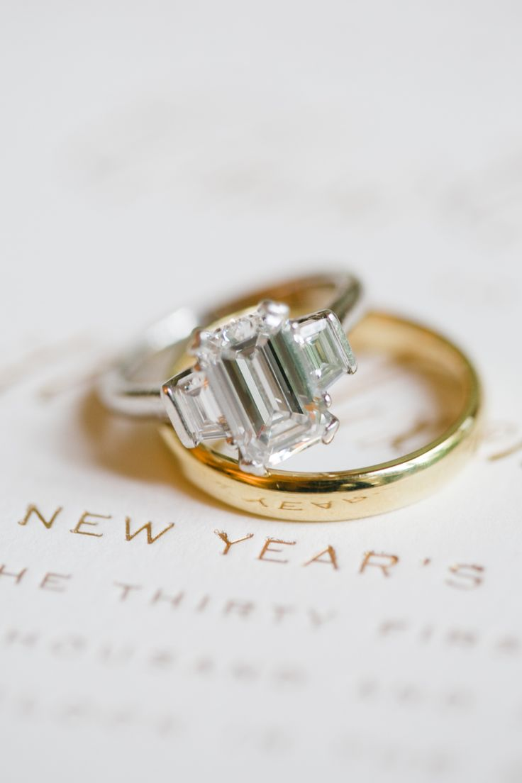 three stone art deco engagement ring with gold men's wedding band  | Photogr...