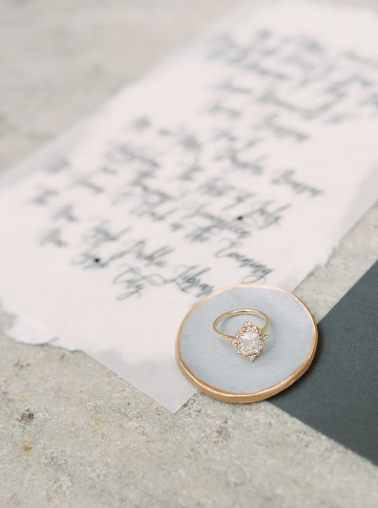 Unique cushion-cut engagement ring: Photography: Callie Manion - www.calliemanio...