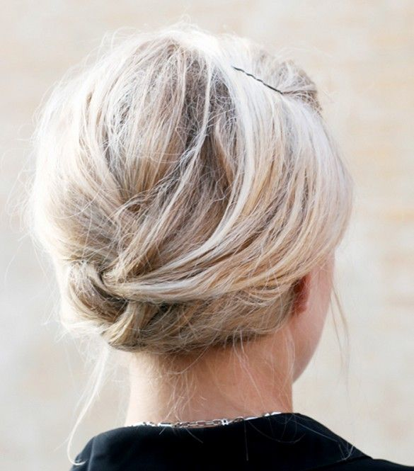 Another idea for that lob of yours! French braid from top and tuck in the ends....