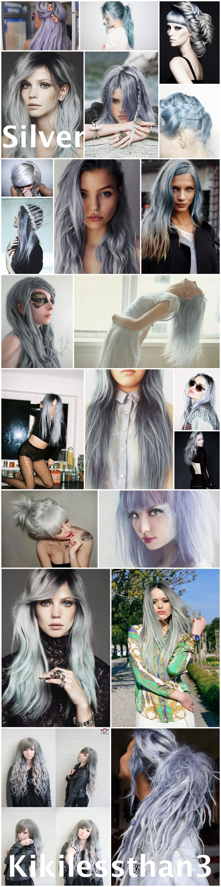 Grey hair, gray hair, silver hair, pastel hair. Ideas for dying your hair silver...