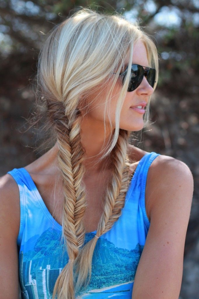 How cute are these: fishtail-braid pigtails....