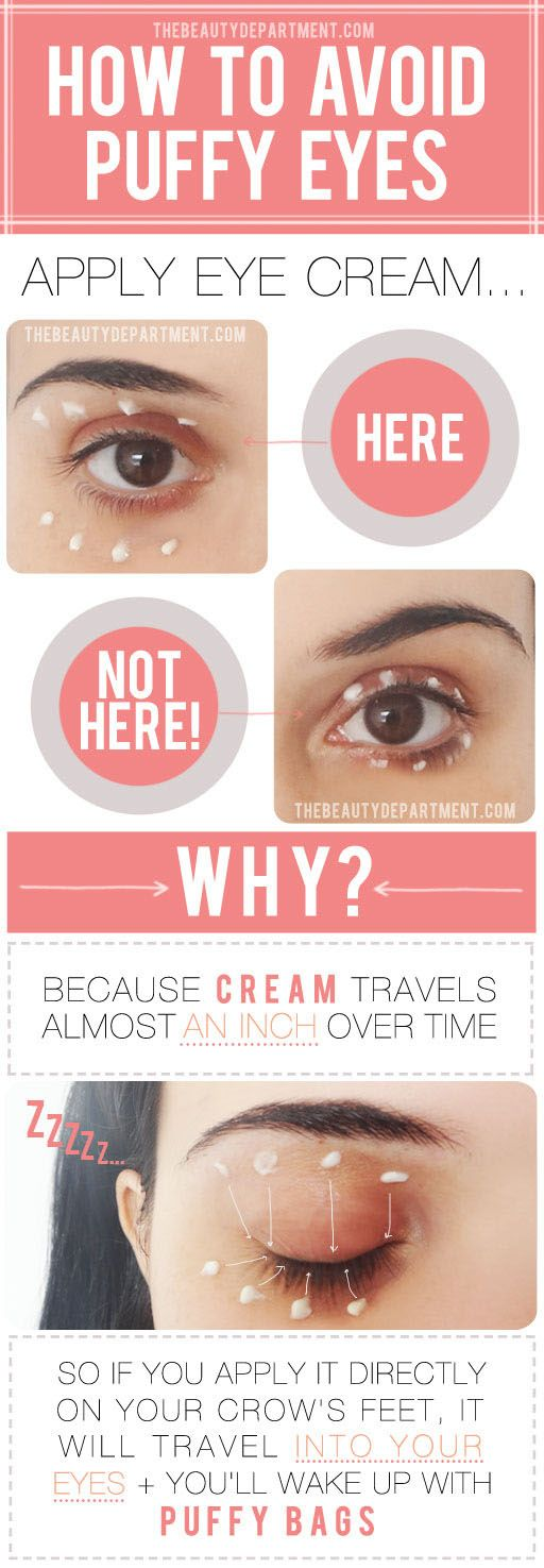 Puffy eyes in the a.m.? See this smart tip from TheBeautyDepartme.......