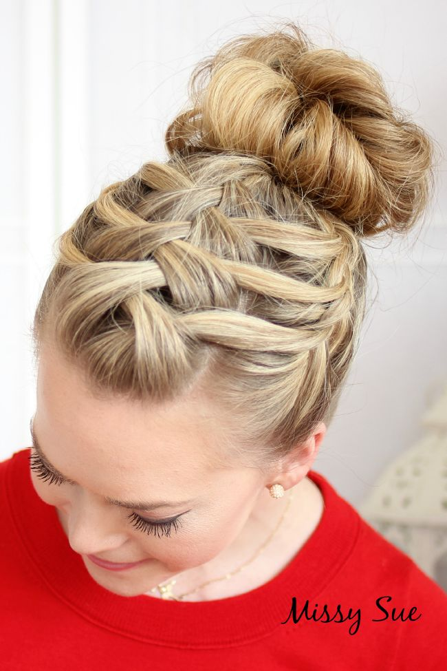 Ready, nimble-fingered braiders? Check our this braid/bun combo. Click on the ph...