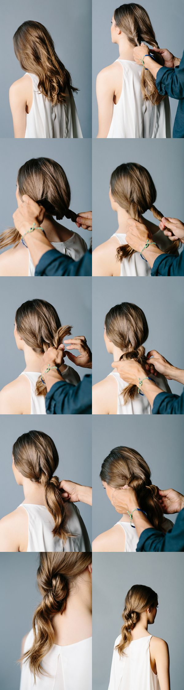 This double-knot ponytail is elegant, and takes about a minute....