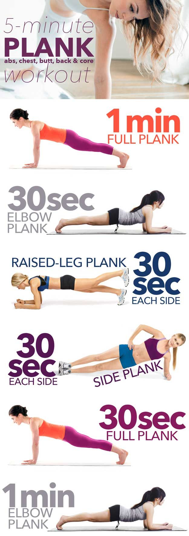 5-Minute Plank Workout | 14 Best Fitness Workouts for Head to Toe Toning, check ...