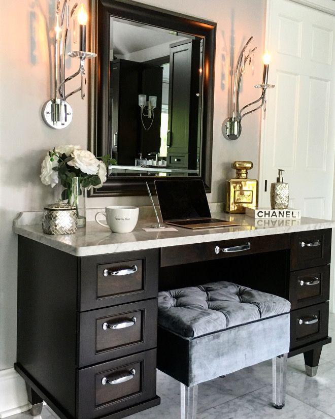 Bathroom Vanity. Makeup vanity Sconces are by Kichler #42929 in polished chrome...