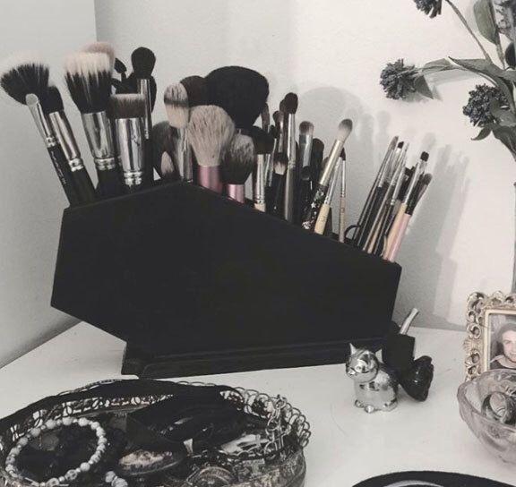 Coffin Makeup Brush Holder, Coffin, Gothic, Makeup, Makeup Organization, Brush H...