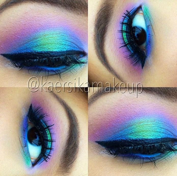COLOR RUN- Mineral Eyeshadow and Eyeliner Makeup Look- All Natural, Vegan Friend...