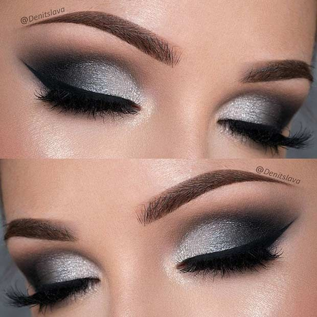 Dramatic Black and Silver Prom Eye Makeup Look...