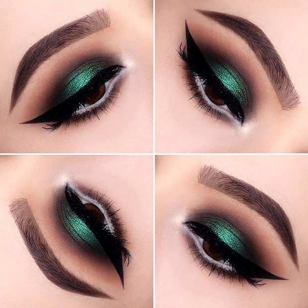Emerald and Brown Smokey Eye Look...