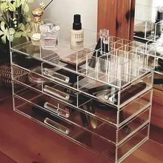 Ikee Design Large Clear Acrylic Jewelry and Cosmetic Storage Display Boxes...