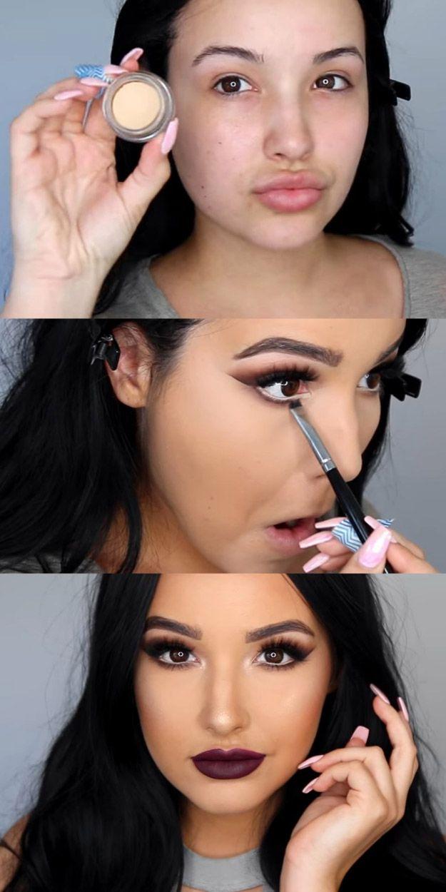 Matte Makeup Tutorials - Glowing Skin, Matte Eyes, & Plum lips Makeup Tutori...
