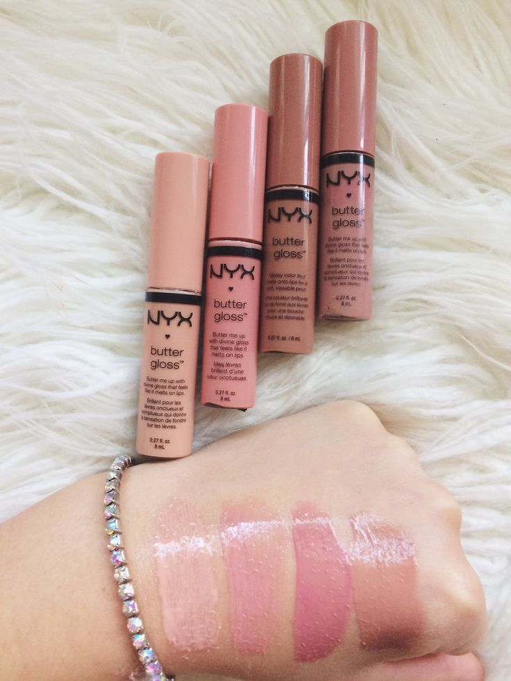 NYX BUTTER GLOSSES | Left to right; Fortune Cookie, Creme Brûlée, Tiramisu, &a...