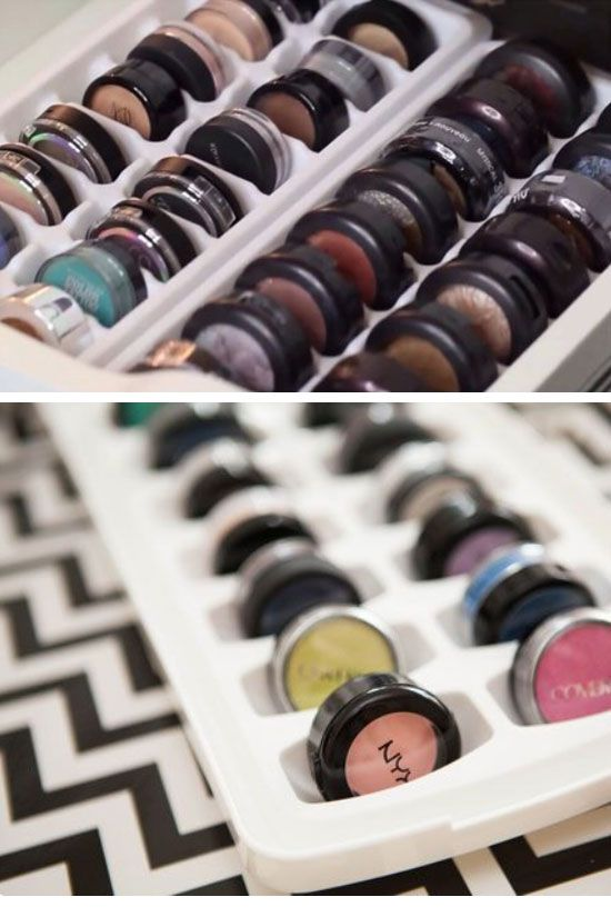 Organize Eye Shadow in an Ice Tray | 21 Life Hacks Every Girl Should Know | Easy...
