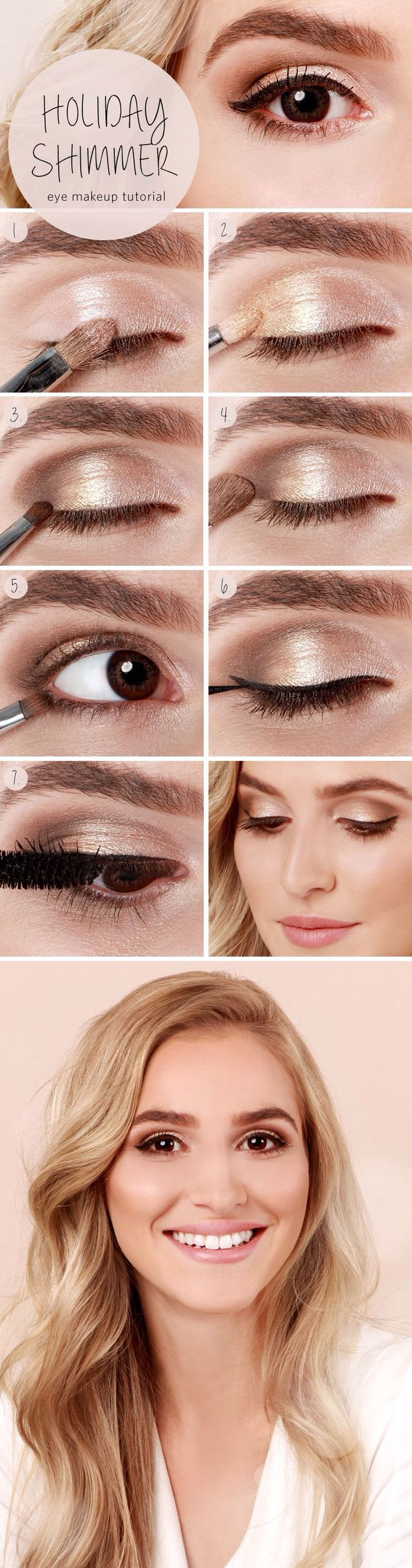 Simple, natural holiday shimmer eye makeup. Perfect for the ordinary day at scho...