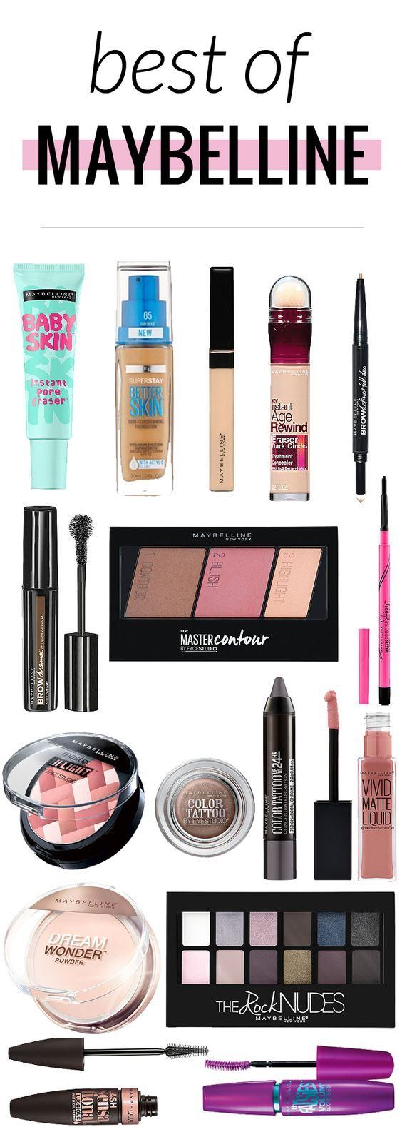 The best of Maybelline makeup - great reference for when you're out shopping...
