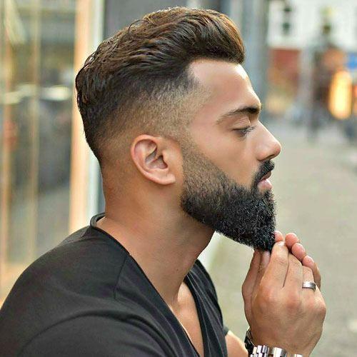 Dapper Haircuts - High Fade with Brush Back and Beard...