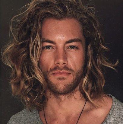 guy long wavy brown hairstyle man model...