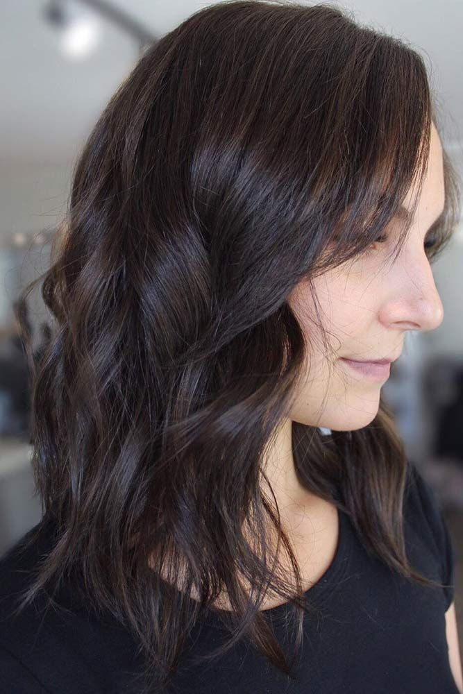 Textured Brunette Hair  ❤️ Dark brown hair color looks very mysterious, and ...