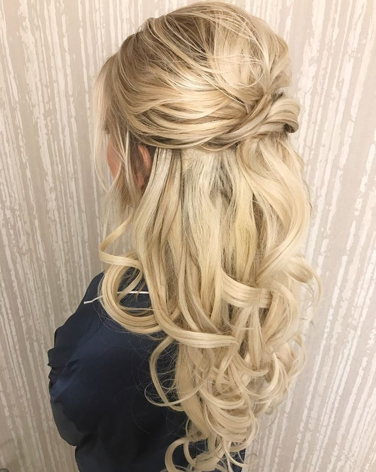 Pretty Half up half down curl hairstyles - partial updo wedding hairstyle #weddi...