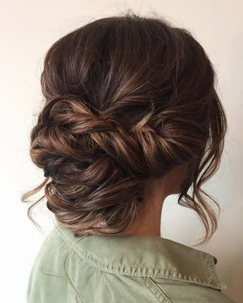 Beautiful braid updo wedding hairstyle for romantic brides - Bridal hairstyle. G...