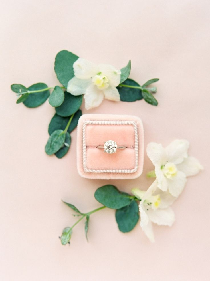 Round-cut diamond ring in a blush The Mrs. Box: Photography : Michelle Boyd Phot...
