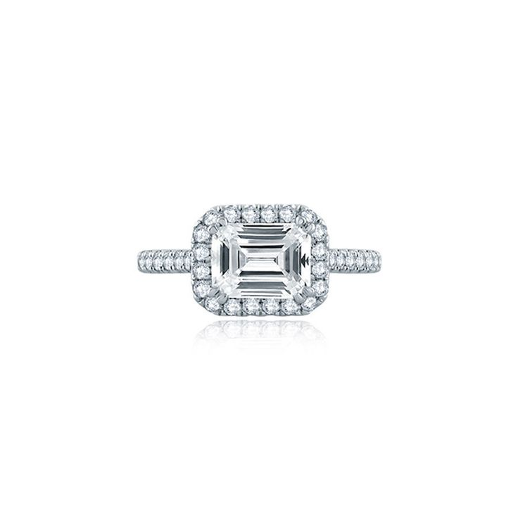 A.JAFFE East/West Emerald Cut Modern Classic Engagement Ring: www.stylemepretty....