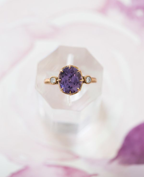 Amethyst gold band engagement ring: www.stylemepretty...