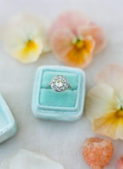 Aquamarine halo circle-cut diamond ring: www.stylemepretty... Photography: Jose ...