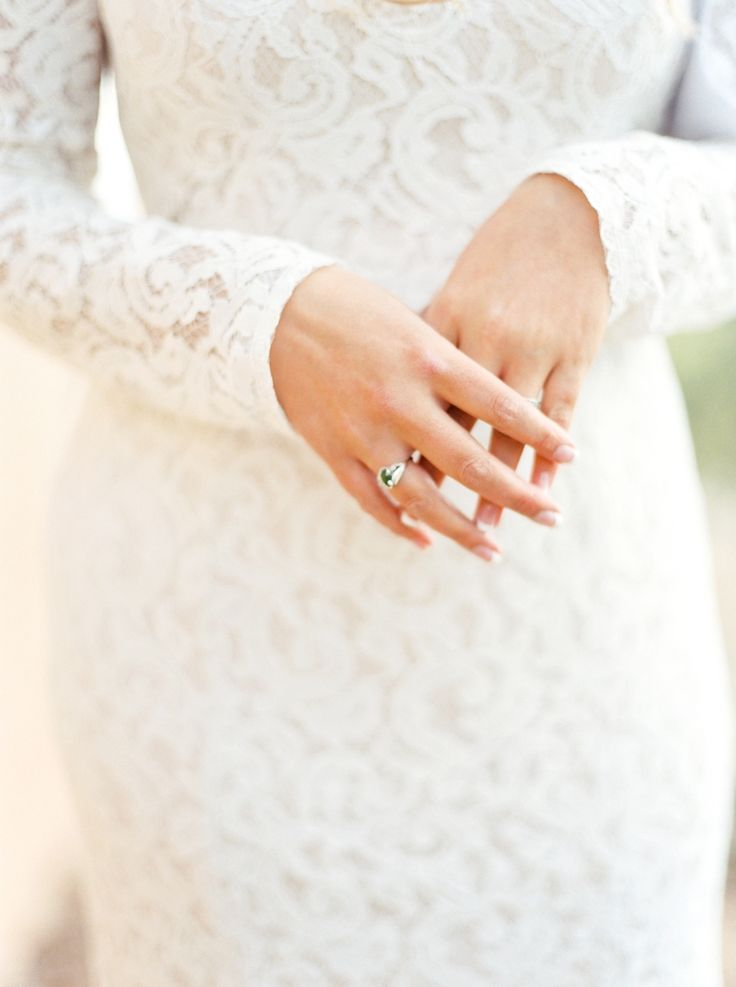 BHLDN lace wedding dress and emerald ring: Photography : Callie Manion Photograp...