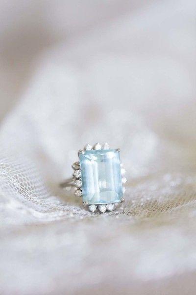 Aquamarine engagement ring: www.stylemepretty... Photography: Sarah Kate - sarah...