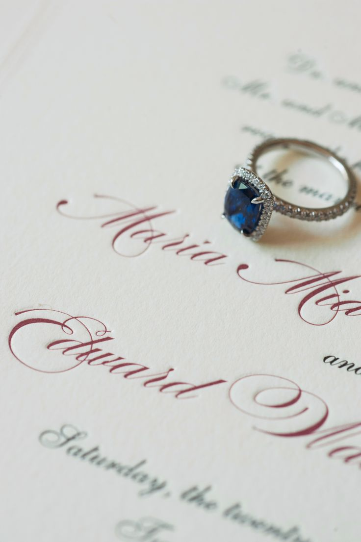 Blue stone engagement ring: Invitations: The Wedding Library - www.stylemepretty...