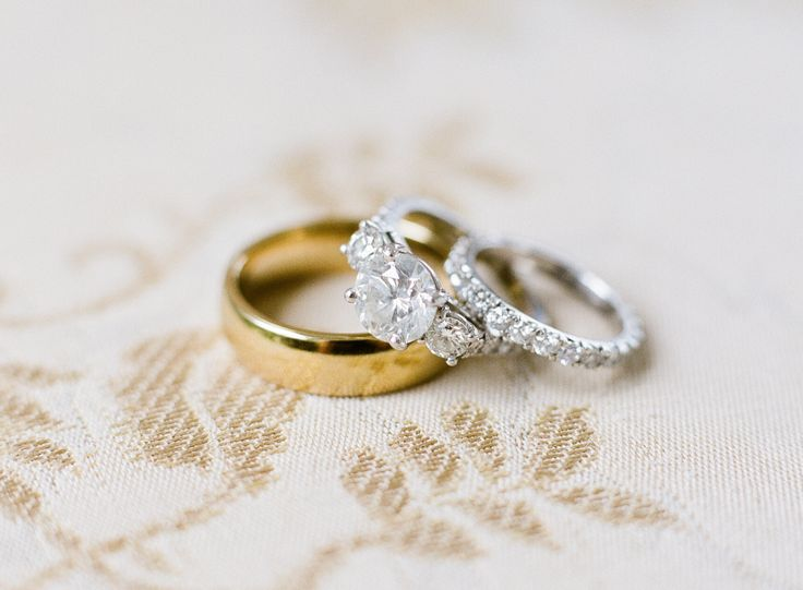 Circle-cut diamond ring and wedding bands: www.stylemepretty... Photography: Alm...
