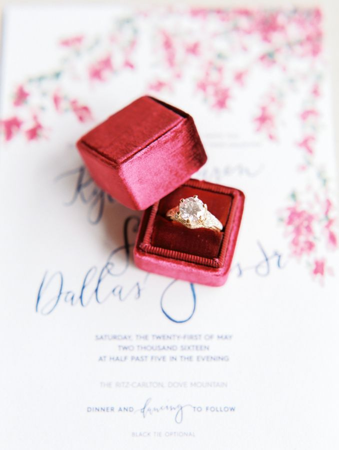 Circle-cut diamond ring in a ruby red box: www.stylemepretty... Photography: Rac...