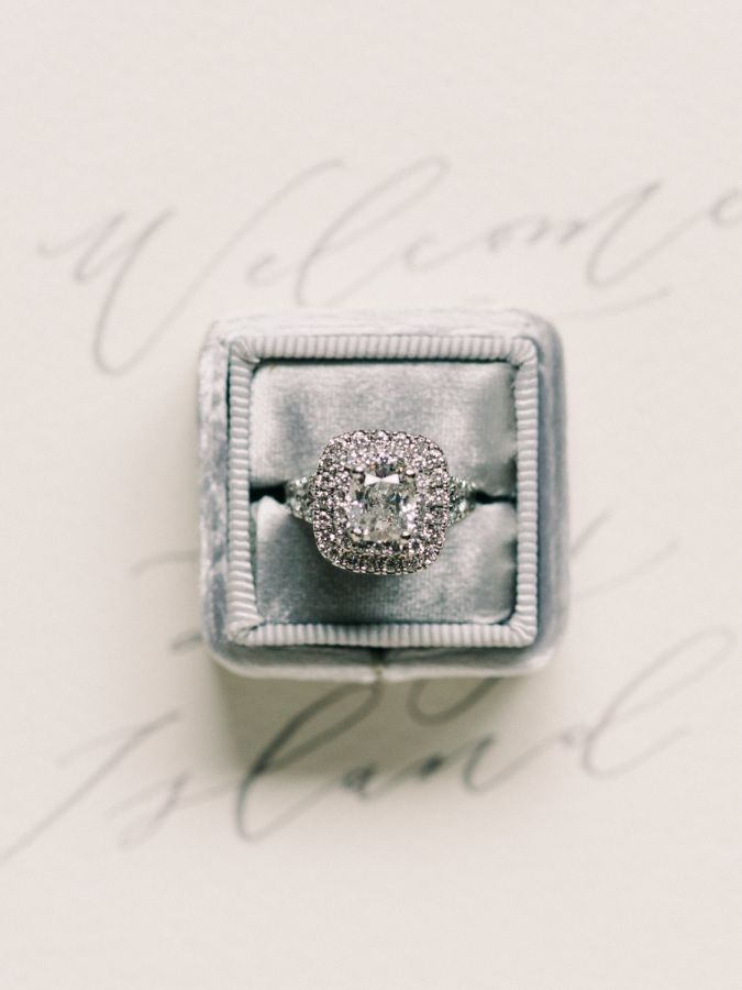 Circle-cut diamond with a double halo setting: www.stylemepretty... Photography:...