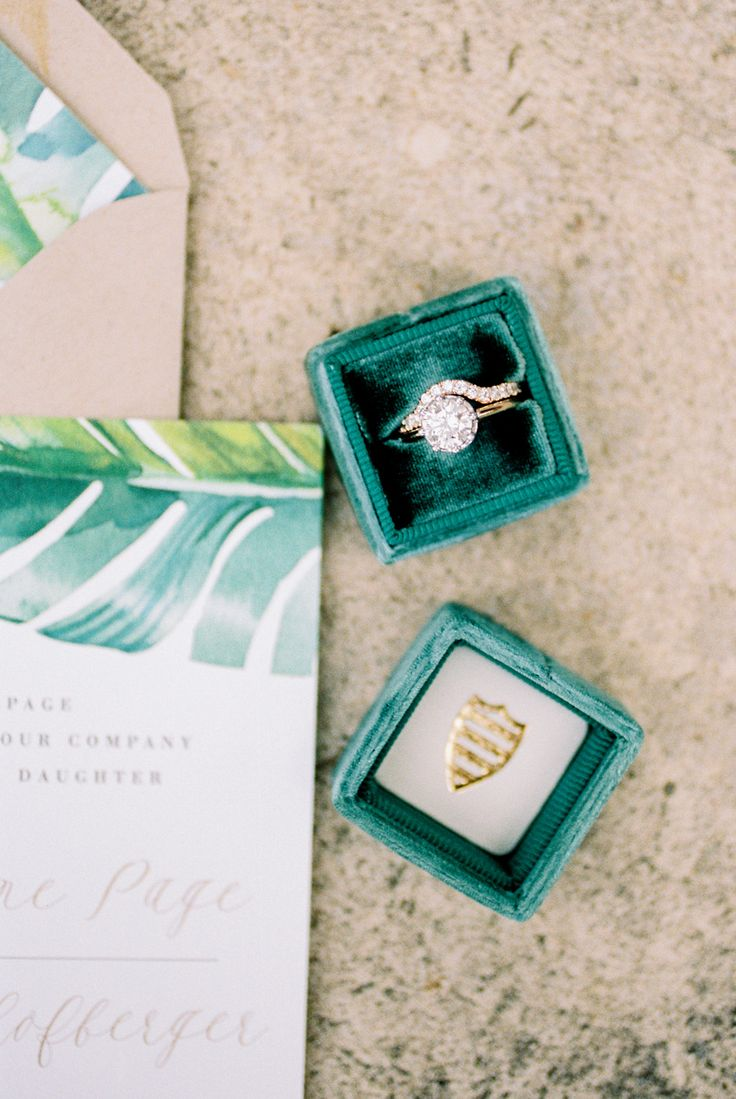 Circle-cut engagement ring in emerald The Mrs. box: Palm Inspired Wilmington Wed...